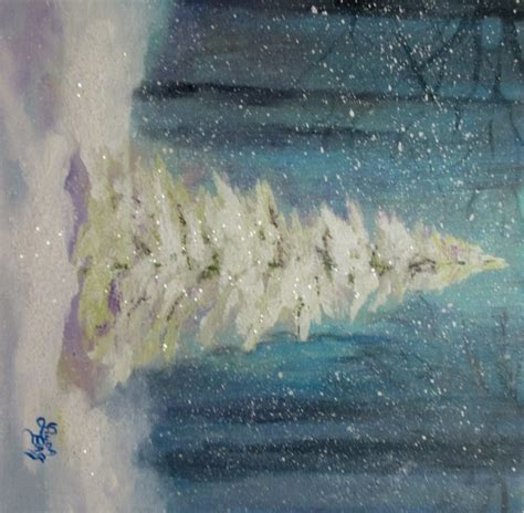christmas tree painting original by followthepaintedroad