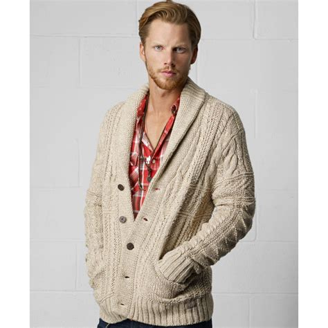 thick knit cardigan lyst denim supply ralph shawl collar cable knit