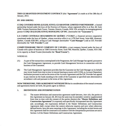 investor contract agreement template investment contract templates 11 free