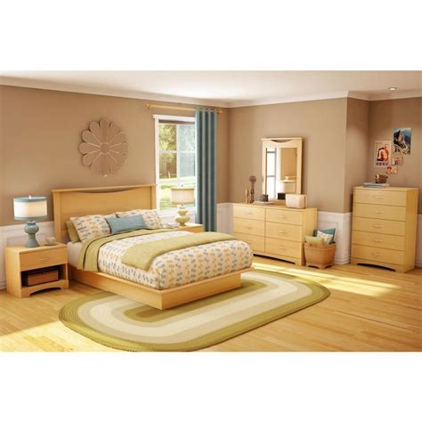 south shore step one platform bed south shore step one full size platform bed in natural maple 3013234 the home depot
