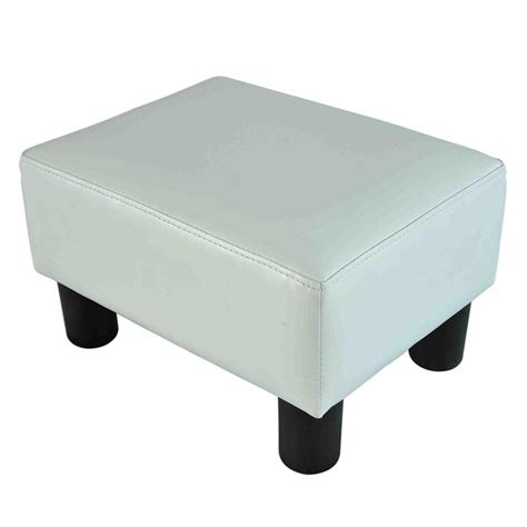 Ottoman Footrest Homcom Small Pu Leather Ottoman Footstool White