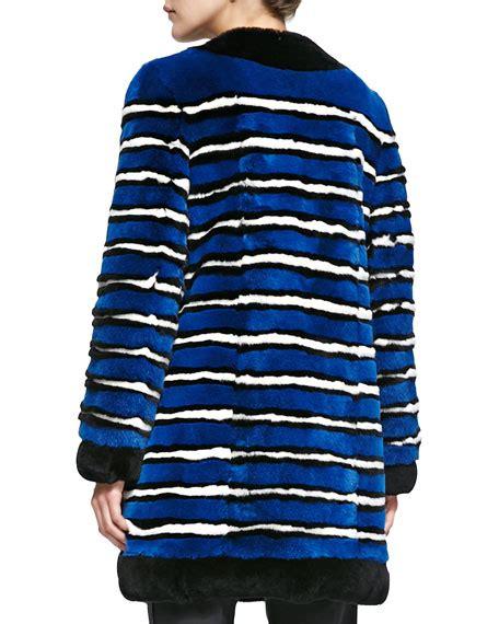 Coat Pocket Rabbit marc striped rabbit fur coat with pockets