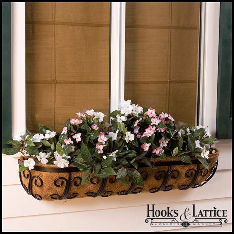 window box baskets iron scroll window baskets metal trough planter iron