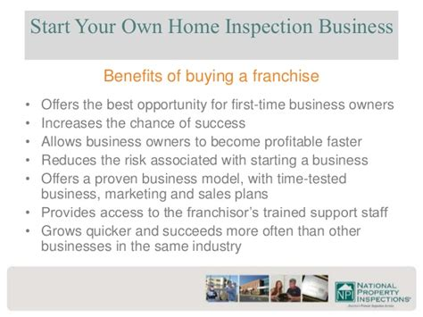 home inspection business plan national property inspections franchise information