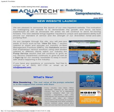 New Newsletter News by New Website Launch News Aquatech Dewatering