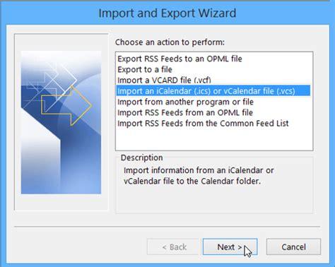 Calendar Import Ics Import Calendar To Outlook Office Support