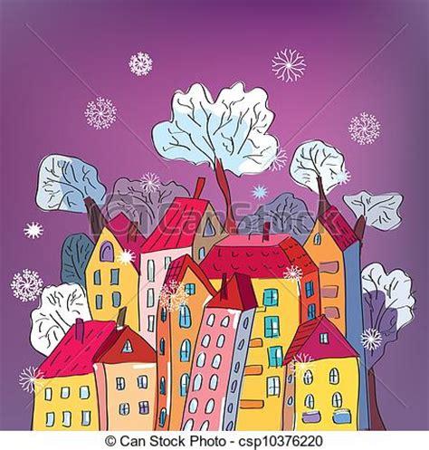 christmas card  whimsical houses cartoon