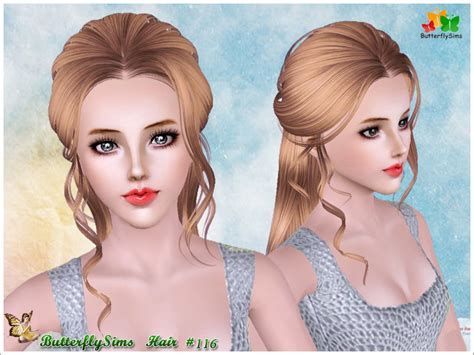 download hair female the sims 3 half up with curly stripes hairstyle by butterfly sims