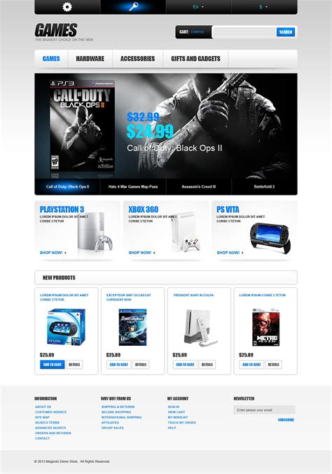 games magento theme web design templates website