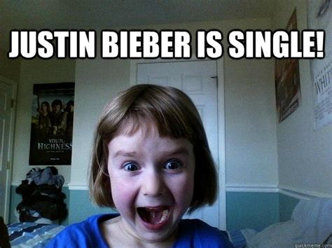 Excited Girl Meme - justin bieber is single excited little girl quickmeme
