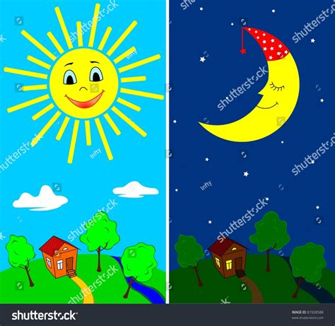 a day bilder day countryside view daytime nighttime stock vector