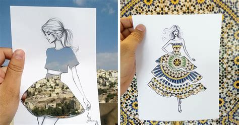 dress design and cutting illustrator completes his cut out dress sketches with