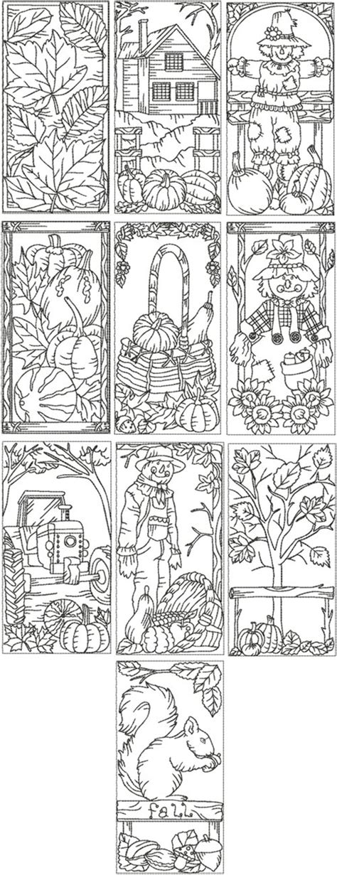 advanced fall coloring pages advanced embroidery designs autumn redwork set iv