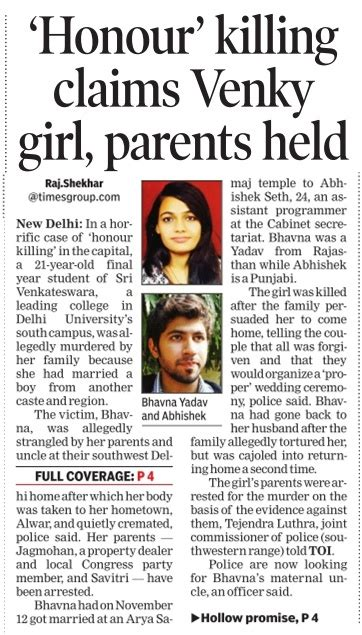 Against Honour Killing Essay by Honour Killings Crimes In India 171 National Research Desk A Shakti Vahini Initiative