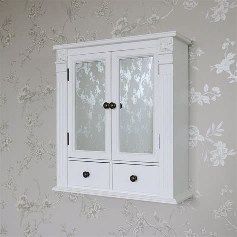 white wooden mirrored bathroom wall cabinet shabby vintage chic cupboard storage ebay