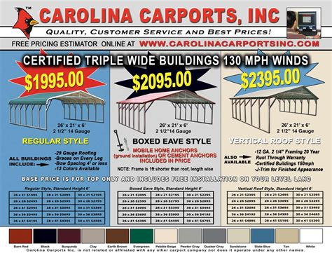 Carport Sizes And Prices Carport Carport Price