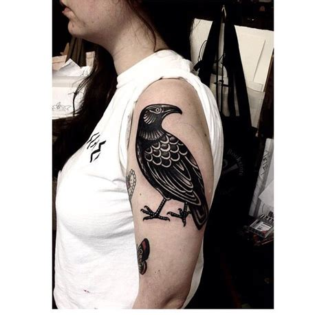 shoulder piece tattoo designs traditional black bird black and white