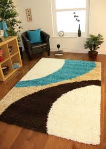 Turquoise Rug 8x10 Shaggy Mat Teal Blue Cream Brown Modern Next Style Swirl
