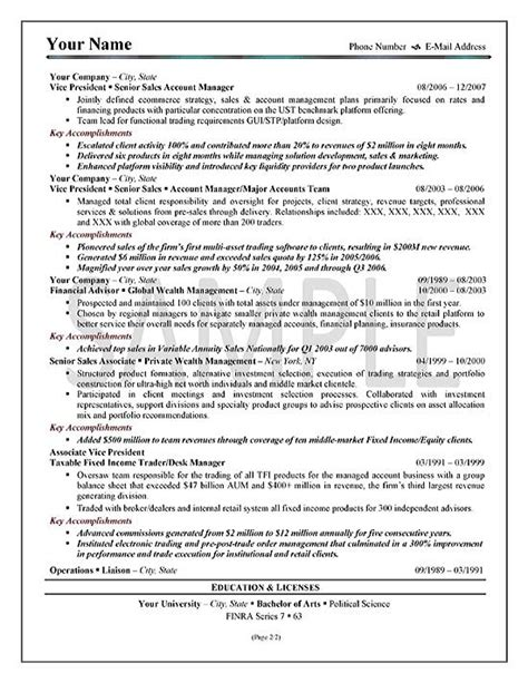sle of resume summary executive sales resume exle