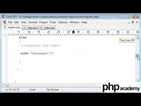 php tutorial login and register php tutorials register login user registration part 4