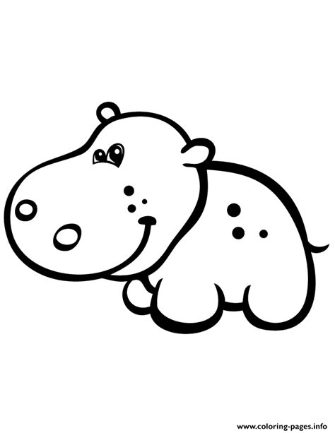 cute baby hippo simple coloring pages printable