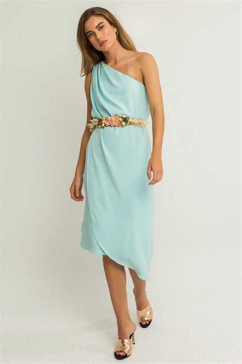 comprar vestidos de fiesta cortos vestido corto crepe azul claro escote asimetrico efecto