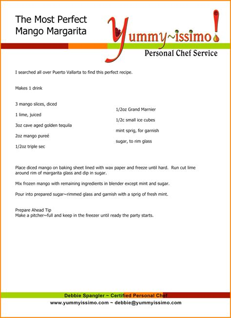 collection of solutions 8 microsoft word recipe template