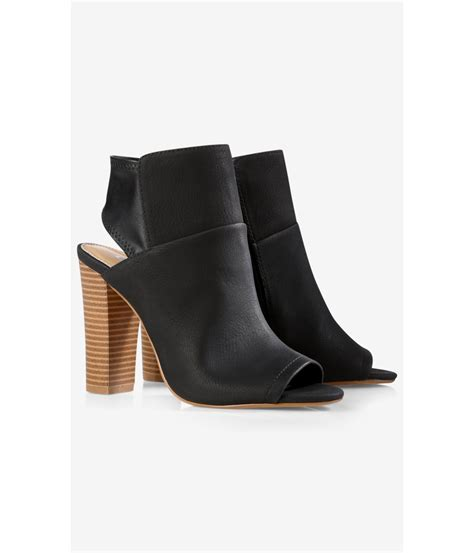 Peep Toe Booties Galore by Lyst Express Black Shield Peep Toe Bootie In Black