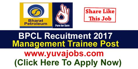 Bharat Petroleum For Mba by Bpcl Recruitment 2017