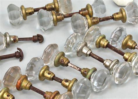 Glass Door Knobs Ebay Lot Of Vintage Antique Glass Brass Door Knobs With Orig Hardware Ebay