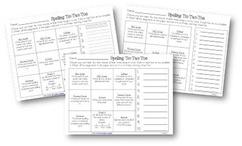 tic tac toe homework template tic tac toe spelling activities freebie literacy ideas