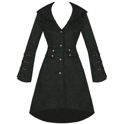 Black Coat new black jacquard steunk floral