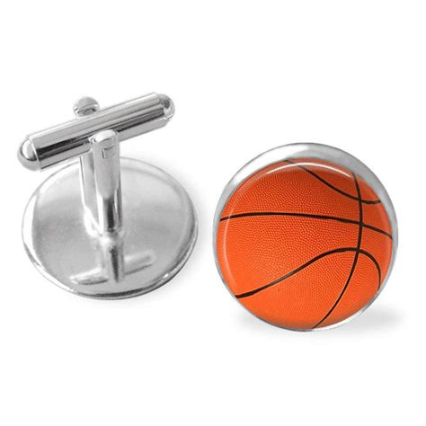gifts for him sports fan basketball cufflinks sports ball cuff links basketball