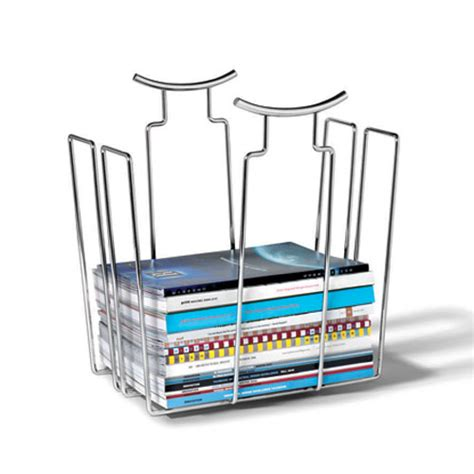 chrome magazine basket in floor magazine racks