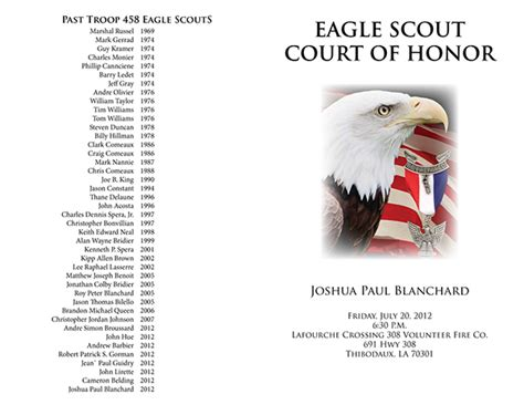 eagle scout court of honor program template joshua blanchard s eagle court of honor press kit on behance