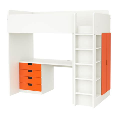 loft bed with drawers stuva loft bed with 4 drawers 2 doors white orange ikea