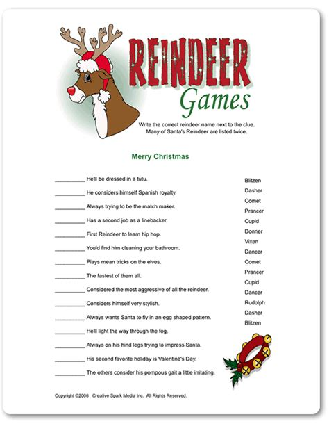 printable christmas games with answers printable reindeer games funsational com bedrooms