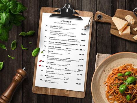 Kitchen Design Layout Template restaurant clipboard menu psd mockup psd mockups