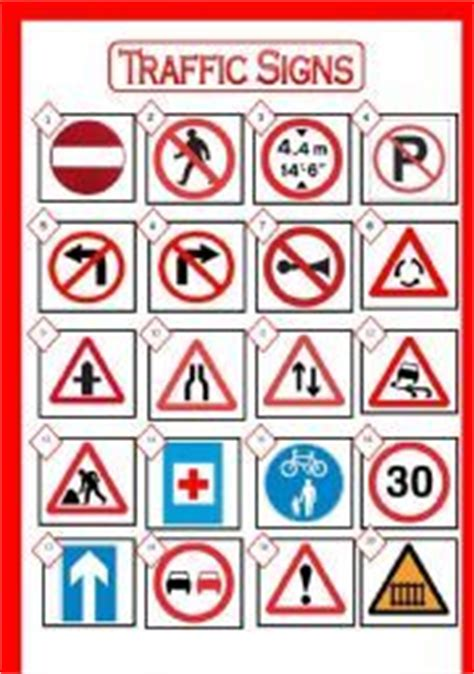 printable european road signs make a match street signs worksheets street and
