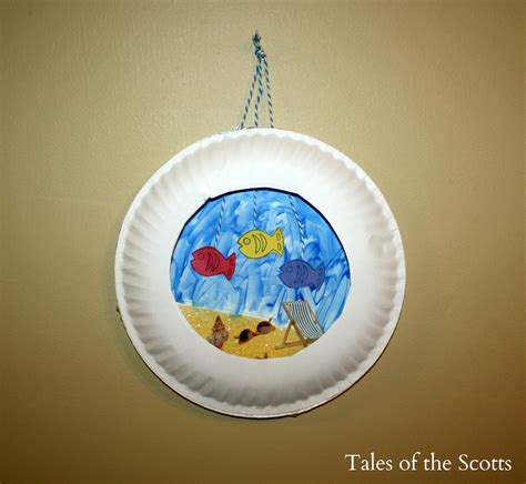 Craft Paper Plates - paper plate aquarium family crafts