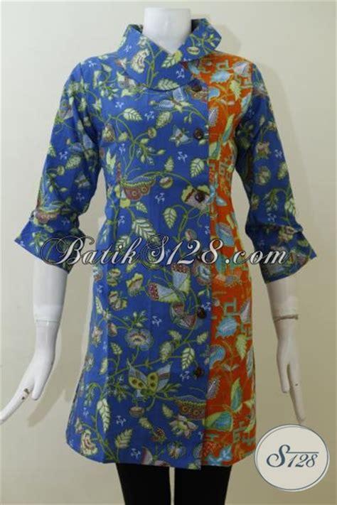 Batik Dress Bunga Biru dress batik biru kombinasi orange motif bunga dan kupu
