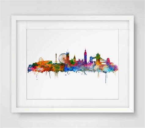 hanging art prints aliexpress com buy london watercolor skyline city poster