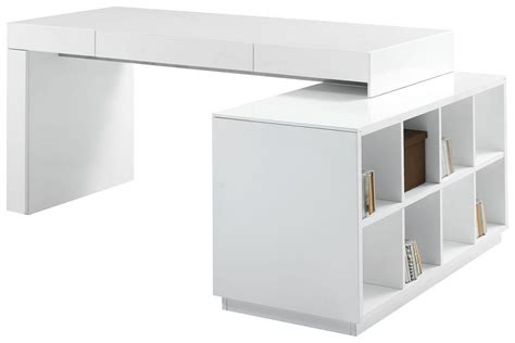 Office White Desk S005 Modern Office Desk With Built In Bookshelf White High Gloss