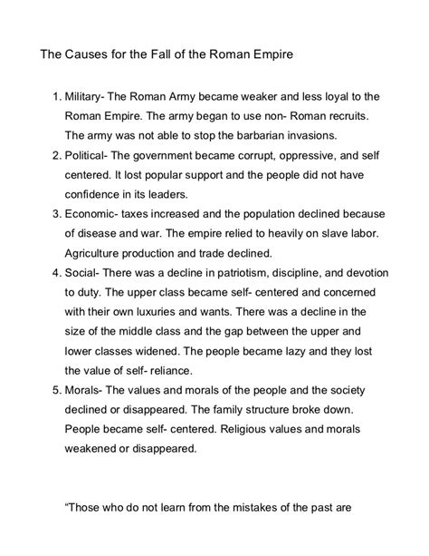 The causes for the fall of the roman empire