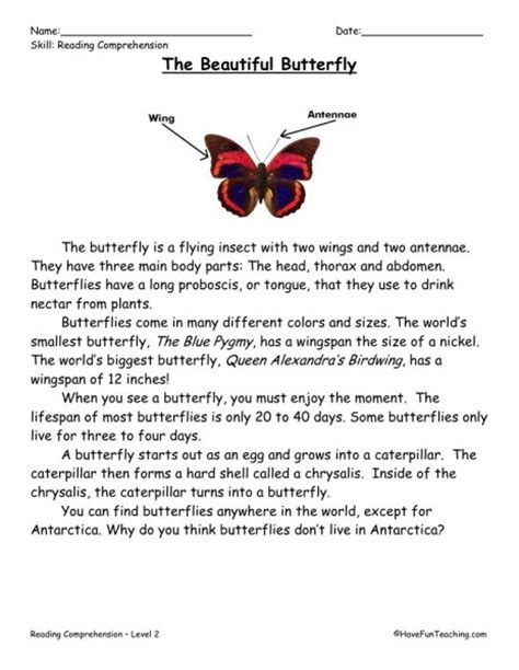 Free Reading Comprehension Worksheets For 2nd Grade by Reading Comprehension Worksheet The Beautiful Butterfly