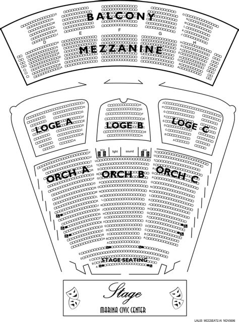 san diego civic theater seating chart seating chart for marina civic center yelp