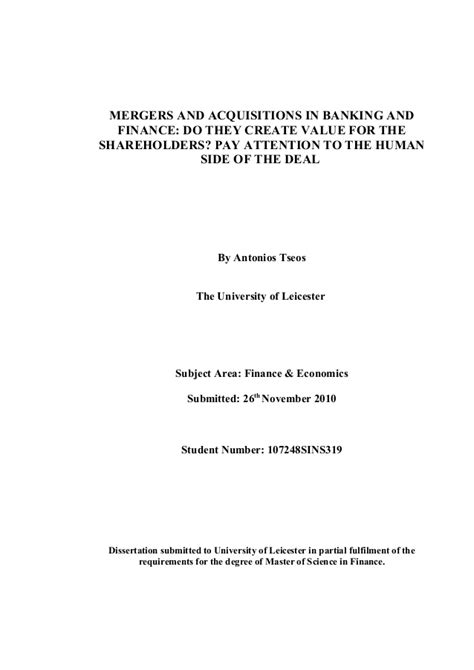 mergers and acquisitions dissertation topics dissertation mergers and acquisitions in banking and finance
