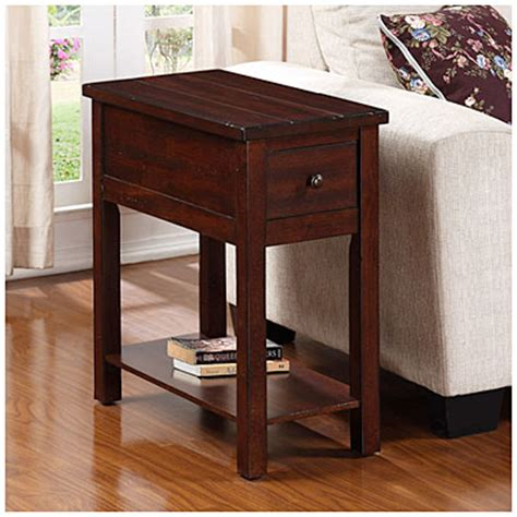 cherry finish planked chairside table big lots