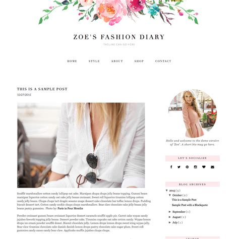 personal blog layout ideas feminine blogger template quot zoe quot pish and posh designs