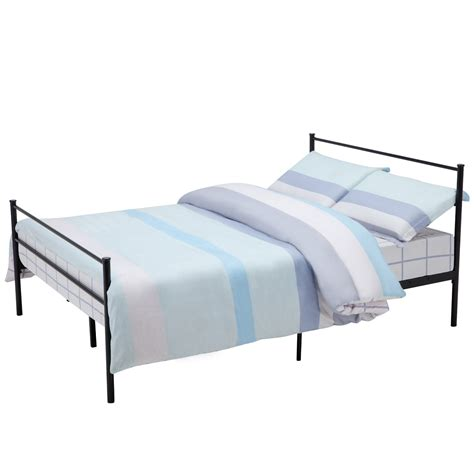 Metallic Bed Frame Size Metal Bed Frame Platform Headboards 6 Leg Bedroom Furniture Ebay